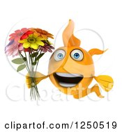 Clipart Of A 3d Goldfish Holding A Bouquet Of Flowers 2 Royalty Free Illustration