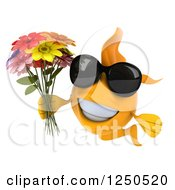 Clipart Of A 3d Goldfish Wearing Sunglasses And Holding A Bouquet Of Flowers Royalty Free Illustration