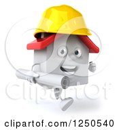 Clipart Of A 3d White House Contractor Running With Blueprints 4 Royalty Free Illustration