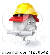 Clipart Of A 3d White House Contractor Running With Blueprints 3 Royalty Free Illustration