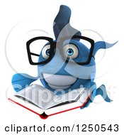 Clipart Of A 3d Bespectacled Blue Fish Reading A Book Royalty Free Illustration