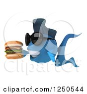 Clipart Of A 3d Blue Fish Wearing Sunglasses Holding A Double Cheeseburger 2 Royalty Free Illustration