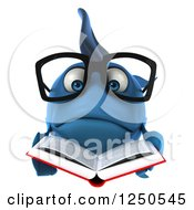 Clipart Of A 3d Sad Bespectacled Blue Fish Reading A Book Royalty Free Illustration