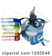 Clipart Of A 3d Bespectacled Blue Fish Holding A Stack Of Books Royalty Free Illustration