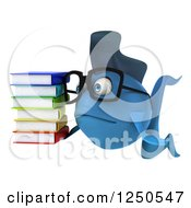 Clipart Of A 3d Sad Bespectacled Blue Fish Holding A Stack Of Books Royalty Free Illustration
