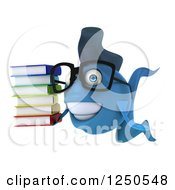 Clipart Of A 3d Bespectacled Blue Fish Holding A Stack Of Books 2 Royalty Free Illustration