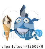 Clipart Of A 3d Happy Blue Fish Holding An Ice Cream Cone Royalty Free Illustration