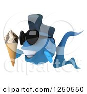 Clipart Of A 3d Blue Fish Holding An Ice Cream Cone And Wearing Sunglasses Royalty Free Illustration