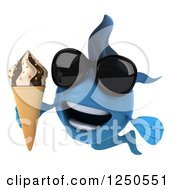 Clipart Of A 3d Blue Fish Holding An Ice Cream Cone And Wearing Sunglasses 2 Royalty Free Illustration