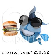 Clipart Of A 3d Blue Fish Wearing Sunglasses Holding A Double Cheeseburger Royalty Free Illustration
