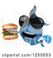 Clipart Of A 3d Blue Fish Wearing Sunglasses Holding A Double Cheeseburger 3 Royalty Free Illustration