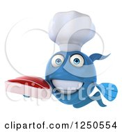 Clipart Of A 3d Blue Chef Fish Holding A Steak Royalty Free Illustration