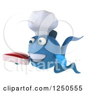 Clipart Of A 3d Blue Chef Fish Holding A Steak 2 Royalty Free Illustration