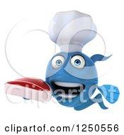 3d Blue Chef Fish Holding A Steak 3