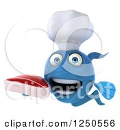 Clipart Of A 3d Blue Chef Fish Holding A Steak 3 Royalty Free Illustration