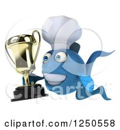 Clipart Of A 3d Blue Chef Fish Holding A Trophy Royalty Free Illustration