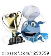 Clipart Of A 3d Blue Chef Fish Holding A Trophy 2 Royalty Free Illustration
