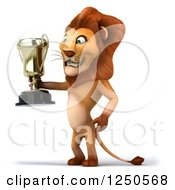 Clipart Of A 3d Champion Lion Holding A Trophy Cup Royalty Free Illustration