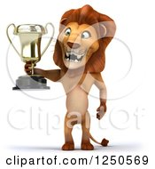 Clipart Of A 3d Champion Lion Holding A Trophy Cup 2 Royalty Free Illustration