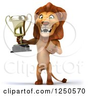 Clipart Of A 3d Champion Lion Holding A Trophy Cup 3 Royalty Free Illustration