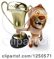Clipart Of A 3d Champion Lion Holding Up A Trophy Cup Royalty Free Illustration