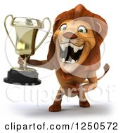 Clipart Of A 3d Champion Lion Roaring And Holding A Trophy Cup Royalty Free Illustration