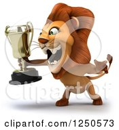 Clipart Of A 3d Champion Lion Roaring And Holding A Trophy Cup 2 Royalty Free Illustration