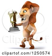 Clipart Of A 3d Champion Lion Walking With A Trophy Cup Royalty Free Illustration