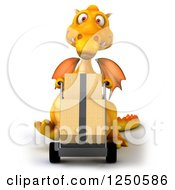 Clipart Of A 3d Yellow Dragon Moving Boxes On A Dolly Royalty Free Illustration