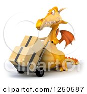 Clipart Of A 3d Yellow Dragon Moving Boxes On A Dolly 2 Royalty Free Illustration