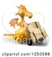 Clipart Of A 3d Yellow Dragon Moving Boxes On A Dolly 3 Royalty Free Illustration