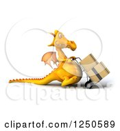 Clipart Of A 3d Yellow Dragon Moving Boxes On A Dolly 4 Royalty Free Illustration