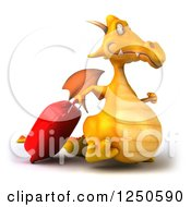 Clipart Of A 3d Yellow Dragon Walking With Rolling Luggage Royalty Free Illustration