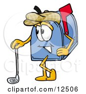 Blue Postal Mailbox Cartoon Character Leaning On A Golf Club While Golfing