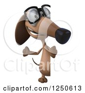 Clipart Of A 3d Bespectacled Dachshund Dog Waving Around A Sign Royalty Free Illustration by Julos
