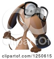 Clipart Of A 3d Bespectacled Dachshund Dog Waving Over A Sign Royalty Free Illustration