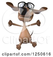 Clipart Of A 3d Bespectacled Dachshund Dog Jumping Royalty Free Illustration