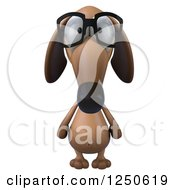 Clipart Of A 3d Bespectacled Dachshund Dog Royalty Free Illustration by Julos