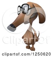Clipart Of A 3d Bespectacled Dachshund Dog 2 Royalty Free Illustration