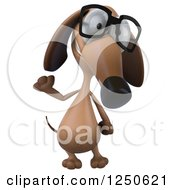 Clipart Of A 3d Bespectacled Dachshund Dog Waving Royalty Free Illustration