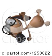 Clipart Of A 3d Bespectacled Dachshund Dog Cartwheeling Royalty Free Illustration