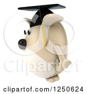 Clipart Of A 3d Chubby Graduate Dog Facing Left Royalty Free Illustration