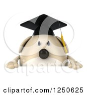 Clipart Of A 3d Chubby Graduate Dog Over A Sign Royalty Free Illustration