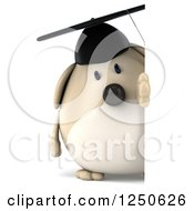 Clipart Of A 3d Chubby Graduate Dog Looking Around A Sign Royalty Free Illustration