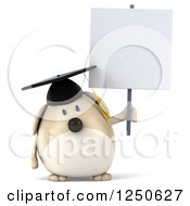 Clipart Of A 3d Chubby Graduate Dog Holding A Blank Sign Royalty Free Illustration