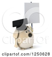 Clipart Of A 3d Chubby Graduate Dog Holding A Blank Sign 2 Royalty Free Illustration