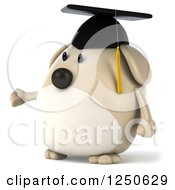 Clipart Of A 3d Chubby Graduate Dog Presenting 2 Royalty Free Illustration