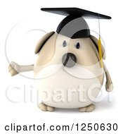 Clipart Of A 3d Chubby Graduate Dog Presenting Royalty Free Illustration