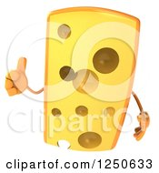 Clipart Of A 3d Cheese Wedge Character Holding A Thumb Up Royalty Free Illustration