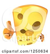 Clipart Of A 3d Cheese Wedge Character Holding A Thumb Up 2 Royalty Free Illustration